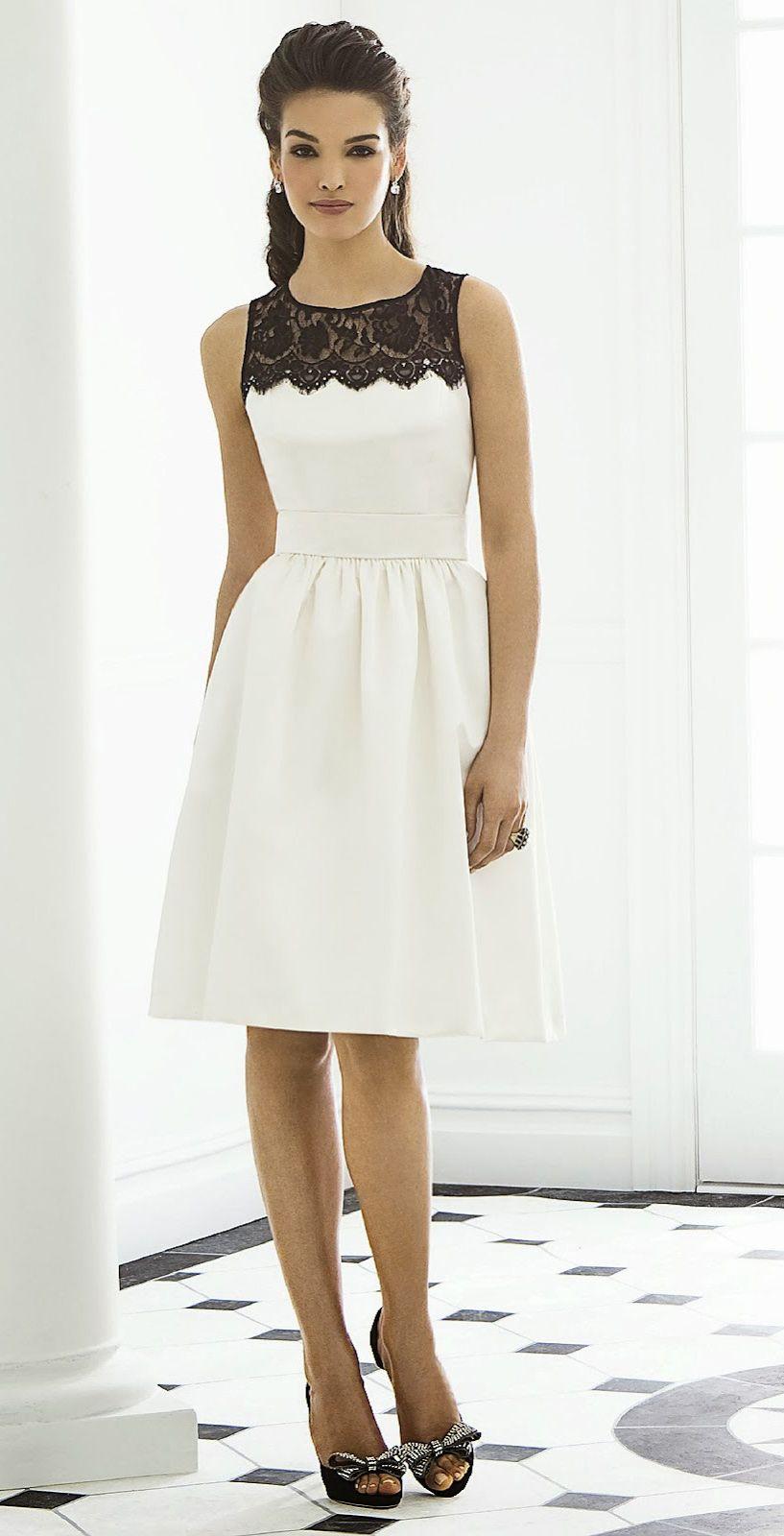 f1c41c4b3b5 Белое платье с кружевной кокеткой отрезное по уровню талии является  универсальной моделью. Днем она отлично подойдет для работы в офисе.